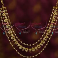 Bahubaali Movie Style Fashion Jewellery 3 Layer Hair Chains Ruby White Latest Imitation