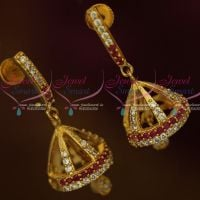 AD Ruby Gold Plated Jewellery Thin J Design Screwback Jhumki South Earrings Shop Online