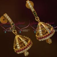 AD Multi Colour Gold Plated Jewellery Thin J Design Screwback Jhumki South Earrings Shop Online