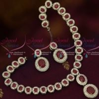 Diamond Finish Jewellery Rhodium Ruby Red AD Silver Plated Imitation Collections Online