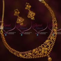 Ruby Emerald Antique Matte Gold Fashion Jewellery Small Size Necklace Jhumka Earrings Shop Online
