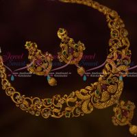 Polki Kemp Combination  Peacock Small Necklace Matte Antique Jewellery Shop Online