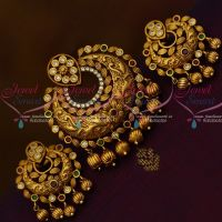 Multi Colour Stones Golden Bead Drops Matching Earrings Matte Finish Jewellery Set Shop Online