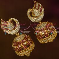 American Diamond Jewellery Screwback Peacock Big Size Jhumka Ruby White Colour Stones Shop Online