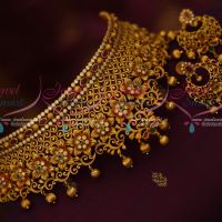 Bridal Fashion Jewellery Matte Antique Floral Gold Plated Broad AD Multi Colour Stones