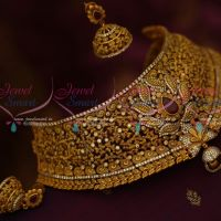 Bridal Fashion Jewellery Matte Antique Gold Plated Broad Ruby White AD Stones