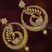 Peacock White Marquise Dazzling Stones Screwback Big Stylish Chand Bali Earrings Shop Online