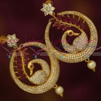 Peacock Ruby White Marquise Dazzling Stones Screwback Big Stylish Chand Bali Earrings Shop Online