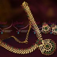 AD Multi Colour Stones Screwback Earrings Jewelry Set South Indian Designs Online