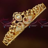 Gold Plated Jewellery AD White Stones Small Size Hair Clip Latest Imitation Buy Online