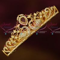 Gold Plated Jewellery AD Ruby White Stones Small Size Hair Clip Latest Imitation Buy Online