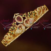 Gold Plated Jewellery AD Ruby Emerald Stones Small Size Hair Clip Latest Imitation Buy Online