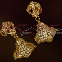 AD White Stones Jewellery Screwback Jimikky Earrings Latest South Indian Designs Shop Online