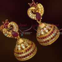AD Fashion Jewellery Peacock Jhumka Ruby White Stones Screwback South Indian Designs Online