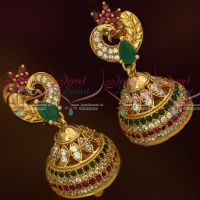 AD Fashion Jewellery Peacock Jhumka Multi Colour Stones Screwback South Indian Designs Online