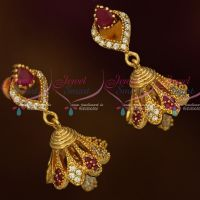 AD Fashion Jewellery Stylish Jhumka Ruby White Stones Screwback South Indian Designs Onlineg