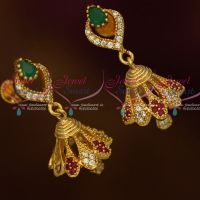 AD Fashion Jewellery Stylish Jhumka Multi Color Stones Screwback South Indian Designs Online