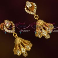 AD Fashion Jewellery Stylish Jhumka White Stones Screwback South Indian Designs Online