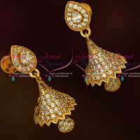 AD Fashion Jewellery Small Bell Jhumka White Color Stones Screwback South Indian Designs Online