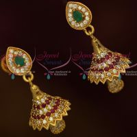 AD Fashion Jewellery Small Bell Jhumka White Stones Screwback South Indian Designs Online