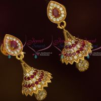AD Fashion Jewellery Small Bell Jhumka Ruby White Stones Screwback South Indian Designs Online