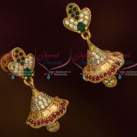 American Diamond Gold Covering South Indian Jhumka Multi Colour Stones Screw Lock