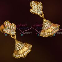 American Diamond Gold Covering South Indian Jhumka White Stones Screw Lock