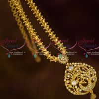 AD White Peacock Pendant Heart Design Chain Casual Wear Gold Plated Jewellery Shop Online