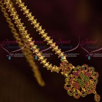 Daily Wear Jewellery Chain Pendant AD Ruby Emerald Stones South Indian Designs Online