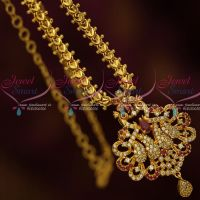 Daily Wear Jewellery Chain Pendant AD Ruby White Stones South Indian Designs Online