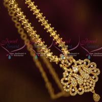 Daily Wear Jewellery Chain Pendant AD White Stones South Indian Designs Online