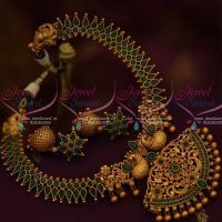 Green Stones Peacock Pendant Chain Matte Finish Fashion Jewellery Collections Online