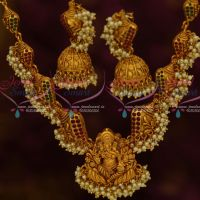 Lord Ganapathy Vinayagar Temple Jewellery Pearl Danglers Gold Inspired Designs Online