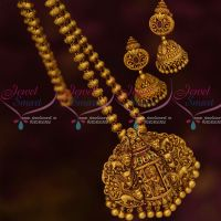 Lord Krishna Design Antique Temple Jewellery Nagas Chain Pendant Jhumka Sets Shop Online