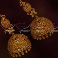 Mango Design Broad Jhumka Beautiful Nakshi Work Design AD Multi Colour Stones Jewellery Online