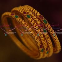 Antique Reddish Matte Jewellery 4 Pcs Set Bangles Ruby Emerald Stones Shop Online