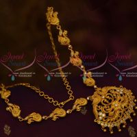 South Indian Jewellery Matte Gold Covering Finish Fancy White Stones Online