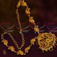 South Indian Jewellery Matte Gold Covering Finish Fancy Multi Color Stones Online