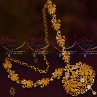 Stylish Matte Jewellery Set Peacock Necklace Low Price AD White Stones Shop Online