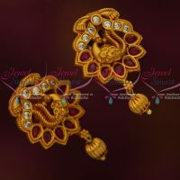 Peacock Design Ruby White Matte Gold Finish Ear Studs South Indian Jewellery Shop Online