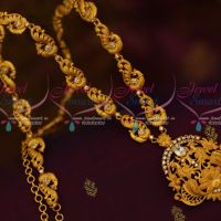 White Stones South Indian Jewellery Peacock Haram Matte Gold Plated Fashion Ornaments Online