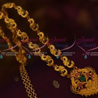 Red Green South Indian Jewellery Haram Matte Gold Plated Fashion Trendy Designs Online