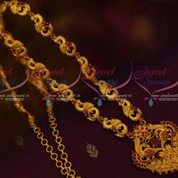 Ruby Stones South Indian Jewellery Haram Matte Gold Plated Fashion Trendy Designs Online