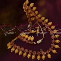 Kalasam Design Jewellery Medium Size Haram Ruby Stones Matte Antique Ornaments Online
