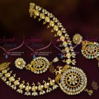 AD White Stones Full Peacock Fashion Jewellery Latest Semi Precious Stones Collections Shop Online