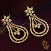 AD Long Big Screwback South Indian White Stones Earrings Shop Online