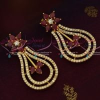 AD Long Big Screwback South Indian Ruby White Stones Earrings Shop Online