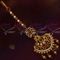 Short Maang Tikka Forehead Jewellery Matte Gold Plated AD Collections Online
