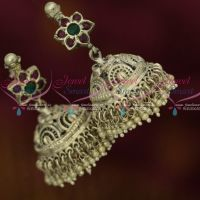 Antique Silver Plated Screwback Big Size Jhumka Earrings Blackish Finish Shop Online