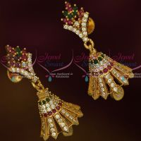 South Indian Jewellery Screw Lock Multi Colour AD Stones Jimikky Earrings Shop Online